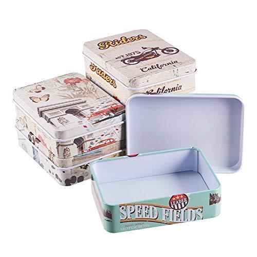 BENECREAT 6 Pack Caja Portátil de Metal Bote Rectángula de Hojalata con Tema de Viaje Contenedor Pequeña de Almacenamiento de Caramelos, Monedas, Agujas, Pastillas
