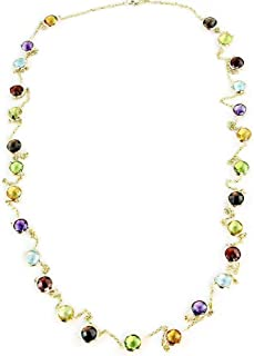 14K Yellow Gold Handmade Necklace with 6mm Gemstones 36 or 40 Inches