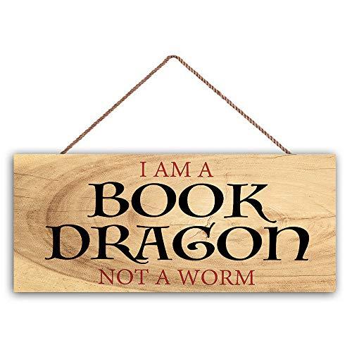 Ced454sy ik ben een boek draak niet een worm huisdecoratie familie teken inspirerende hout teken beste cadeau