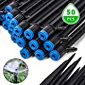 EOX Drip Irrigation Emitters, 50 PCS Fan Shape Irrigation Drippers 1/4 in Adjustable Drip Emitters Spray Garden Quarter Inch Drip System Emitters 360 Degree Vortex Irrigation Drippers Watering Stake