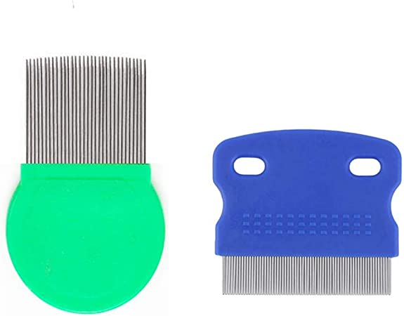 2PCS Flea Comb for Cats Dogs Remove Float Hair Tear Marks Tick Removal Tool Fine Tooth Pet Grooming Tools Set for Effective Removing Tear Stains Fleas Dandruff,Crust