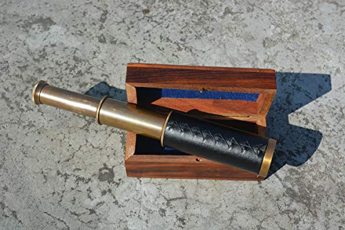 """Nautical India 9"""" Handheld Brass Antique Telescope with Wooden Box - Pirate Navigation"""