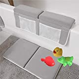 Mybabyly Bath Kneeler & Elbow Rest Pad Set 1.5 inch Thick Kneeling Pad and Elbow Support for Knee & Arm Support Large Bathtub Kneeling Mat with Toy Organizer (FREE 3 TOYS!) for Happy Baby Bathing Time