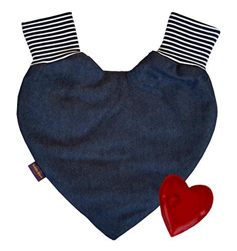 Cuddle Glove Denim Classic Partnerhandschuhe zum Händchenhalten Pärchenhandschuh Paarhandschuhe - Das perfekte Geschenk mit Gel-Handwärmer bzw. Taschen-Handwärmer Blau