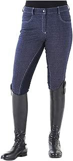 Ovation Women's Euro Melange Full Seat Cotton Breeches, Indigo, 32 Regular