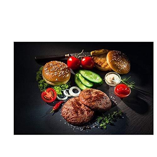 Gemüse Fleisch Messer und Gabel Küche Leinwand Malerei Skandinavische Plakate und Drucke Wandkunst Lebensmittel Bilder Wohnzimmer Schlafzimmer rahmenlose dekorative Malerei A11 30x40cm
