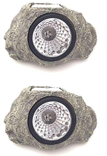 Solar Powered Rock Landscaping Spot 3-LED Light Garden Outdoor Stone Patio Sun (2)