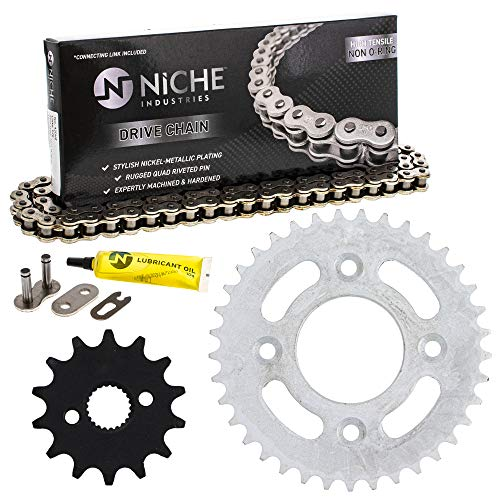 NICHE Drive Sprocket Chain Combo for Honda XR50R Front 14 Rear 37 Tooth 420HZ Standard 118 Links
