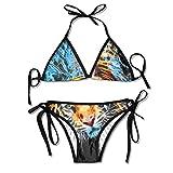 Women's Colorful Adjustable Fantasy Brave Tiger Sexy Bikini Set 2 Piece