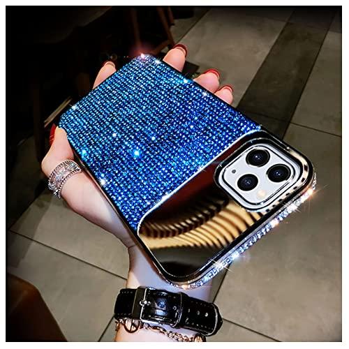 FOURTOC Specchio Cover con Glitter Strass Diamanti per iPhone 13 PRO Max 11 12 Mini XS Max 7 8 Plus Custodia Brillantini Cristallo Sottile Gomma Bumper Protettiva Custodia,Blu,13 PRO Max