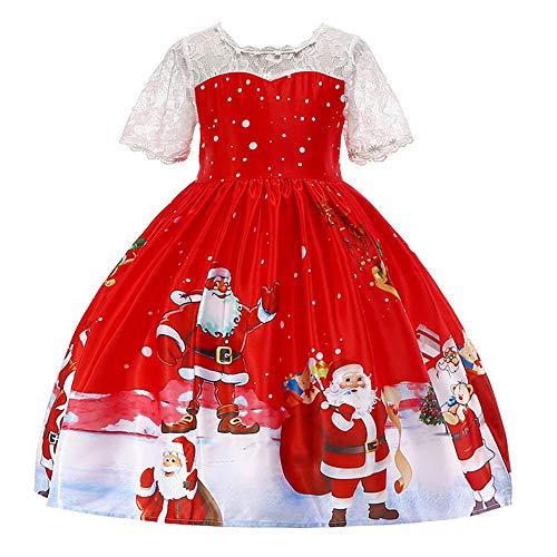 POLP Vestidos Niña Bebe Ropa Disfraz Navidad Bebe Navidad Regalo Vestido de Princesa con Estampado de Encaje Vestido de Fiesta Sin Mangas Ropa niña Navidad Bebe niña Rojo 12 meses-7años