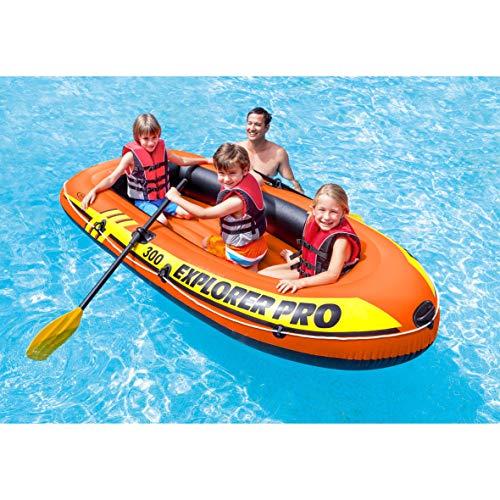 Intex Explorer Pro Inflatable Boat, Boat + Paddles + Pump, Three Person (244 x 117 x 36 cm)