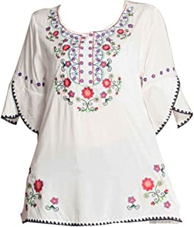 Ashir Aley Womens Girls Embroidered Peasant Tops Mexican Bohemian Blouses