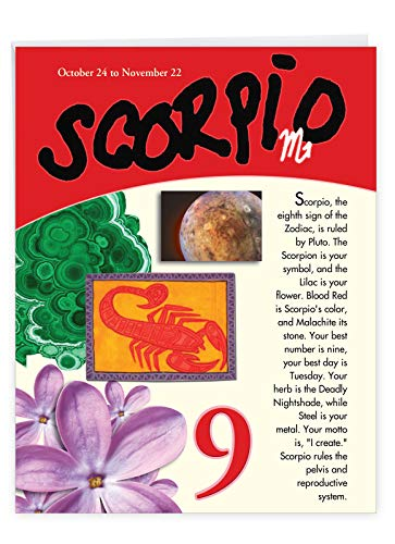 Scorpio Zodiac Sign Happy Birthday Card 8.5 x 11 Inch - Big and Bright Colorful Scorpion, Motto, Horoscope Greeting Card - October and November Birthdays - Fall Bday Wishes w/ Envelope - J9449