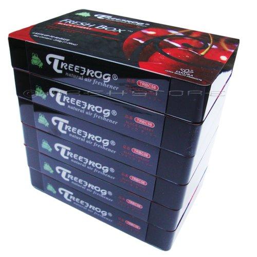 6 Pack Treefrog Natural Air Freshener Fresh Box (AKA Xtreme Fresh) Black Cherry Scent - Soft, sweet cherry fruity fragrance