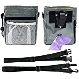 HTHN Paw Lifestyles – Dog Treat Training Pouch – Easily Carries Pet Toys, Kibble, Treats – Built-in Poop Bag Dispenser – 3 Ways to Wear