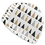 Getalty Gorros de natación Negro y Dorado árbol de Navidad Gorros de natacióo Gorro de Ducha para Mantener tu Cabello seco