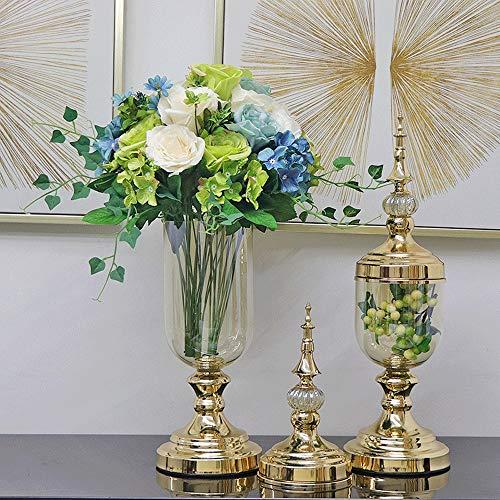 WZNING Gold European Style Vaas Decoratie Glas Transparant Amerikaans Eettafel luxe inrichting Woonkamer van het Huis Simulatie Bloemstuk Wedding Gift Giveaway Plating (Color : D)