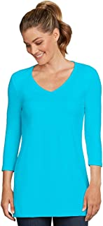 Judy P 3/4 Sleeve V Neck Tunic Top, Bel Air, Large
