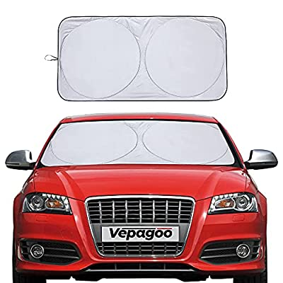 Vepagoo Car Windshield Sun Shade Window Cover Shade Interior Sun Protection 59inX29in, UV Rays and Sun Heat Protector, Keep The Car Interiors Cool, Prevents Dashboard Fade and Crack.