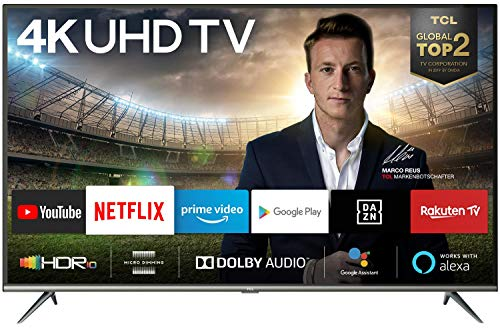 TCL 50EP640 Fernseher 126 cm (50 Zoll) Smart TV (4K UHD, HDR 10, Triple Tuner, Android TV, Micro Dimming, Prime Video, Alexa und Google Assistant) Schwarz [Modelljahr 2019]