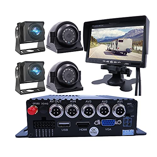 """JOINLGO 4-CH 1080P AHD GPS Track Mobile Vehicle Car DVR MDVR Real time Cycle Video Recorder System with 4Pcs IP67 Waterproof Side Front Rear View 2.0MP Car Camera 7"""" VGA Screen for Truck Bus RV"""