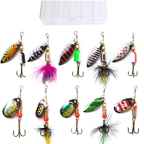 kingforest 10pcs Fishing Lures Spinnerbait for Bass Trout Salmon Walleye Hard Metal Spinner Baits...