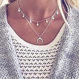 Jovono - Collar con varias capas y colgante de luna creciente, cadena moderna con lentejuelas, joyas para mujer y chica (color plateado)