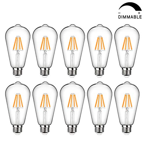 Vintage LED Edison Bulb Dimmable, 6W, 60W Equivalent, High Brightness 800 Lumens, Warm White 2700K, Filament Light Bulb, ST64 Antique LED Bulbs, CRI 90+, E26 Base, Clear Glass, Pack of 10
