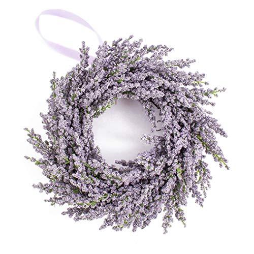 artplants.de Deko Lavendelkranz auf Rattan, violett, Ø 25cm - Künstlicher Kranz - Türkranz