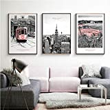XIXISA Modern Nostalgic New York Landscape Wall Art Canvas Painting Red Train Car Carteles e Impresiones Cuadro Decorativo para Sala de Estar/sin Marco / 50x70cm