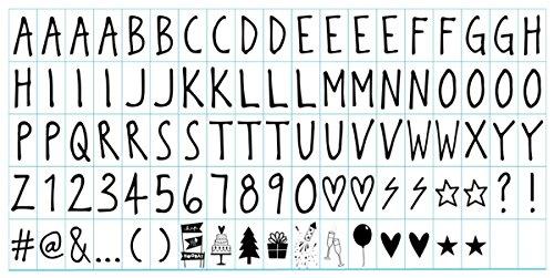 Ai-life 95 Stück DIY Handschrift Stil Dekorativ Buchstabe-Karte Symbole Graph Nummern Ergänzungsset für A4 Gestaltbar Cinematic Light Box, Ergänzungsset Celebrations für Urlaub Dekoration Symbole