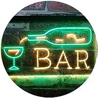 Bar Bottle Glass Display Open Home Decoration Dual Color LED看板 ネオンプレート サイン 標識 緑色 + 黄色 600 x 400mm st6s64-i3182-gy