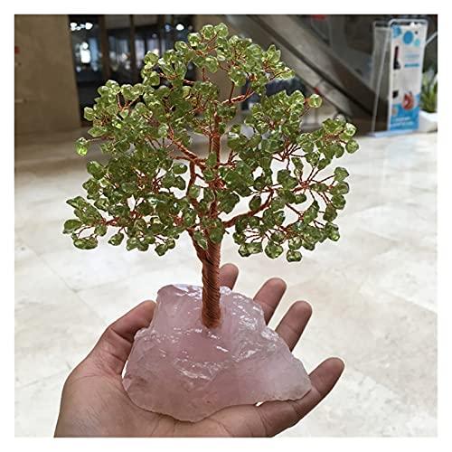 JSJJPLM Piedra de Cristal Natural Natural Olivine Quartz Piedra preciosal Crystal Lucky Tree Reiki Curación de la Piedra Preciosa Rosa áspera Proporcionar energía en Cuanto a fengshui de Regalo