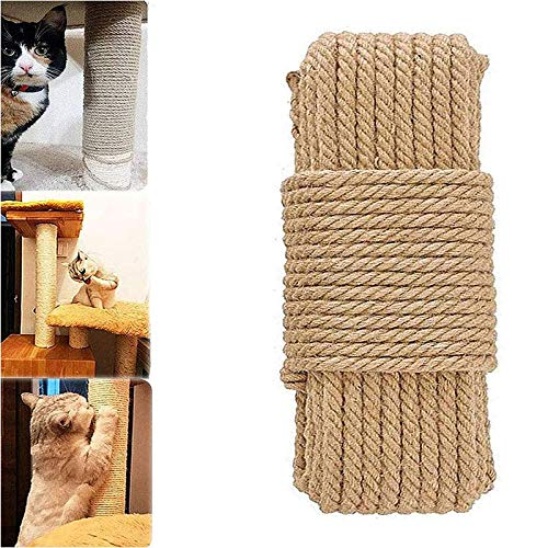 Cat Natural Sisal Rope for Scratching Post Tree Replacement, Hemp Rope for Repairing, Replacement Cat Tree and Tower (6mm 66Ft)
