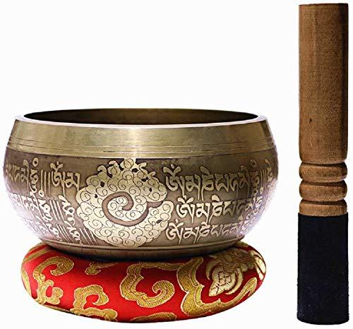ASEDRF 5-Zoll-Tibetanische Klangschale Set, Hand Meditation Klangschalen Mit Holzhammer Und Kissen Für Gebet/Meditation/Yoga/Chakra Healing/Mindfulness/Dekoration