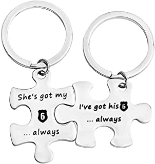 MYOSPARK Police Couple Puzzle Keychain Gift I've Got His 6 Police Officer Keychain Deployment Jewelry Gift for Military Wife Girlfriend