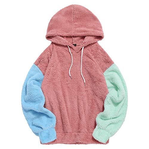 ZAFUL Pullover, Farbblockierender Fleece-Kapuzenpullover Kordelzug spleißen pelziger Hoodie (Rosa, S (EU 44))