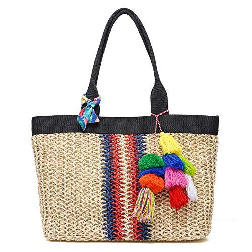 JOSEKO Bolso de playa de verano, bolso de hombro tejido de paja tejida, estilo de vacaciones, adecuado para viajes de playa y uso diario de mujeres