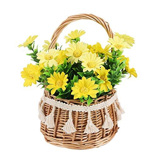 NAHUAA Flores Artificiales con Maceta Margarita Artificial Flores de Seda para Hogar Oficina Decoración Jardín Baño Cocina Balcón Amalillo