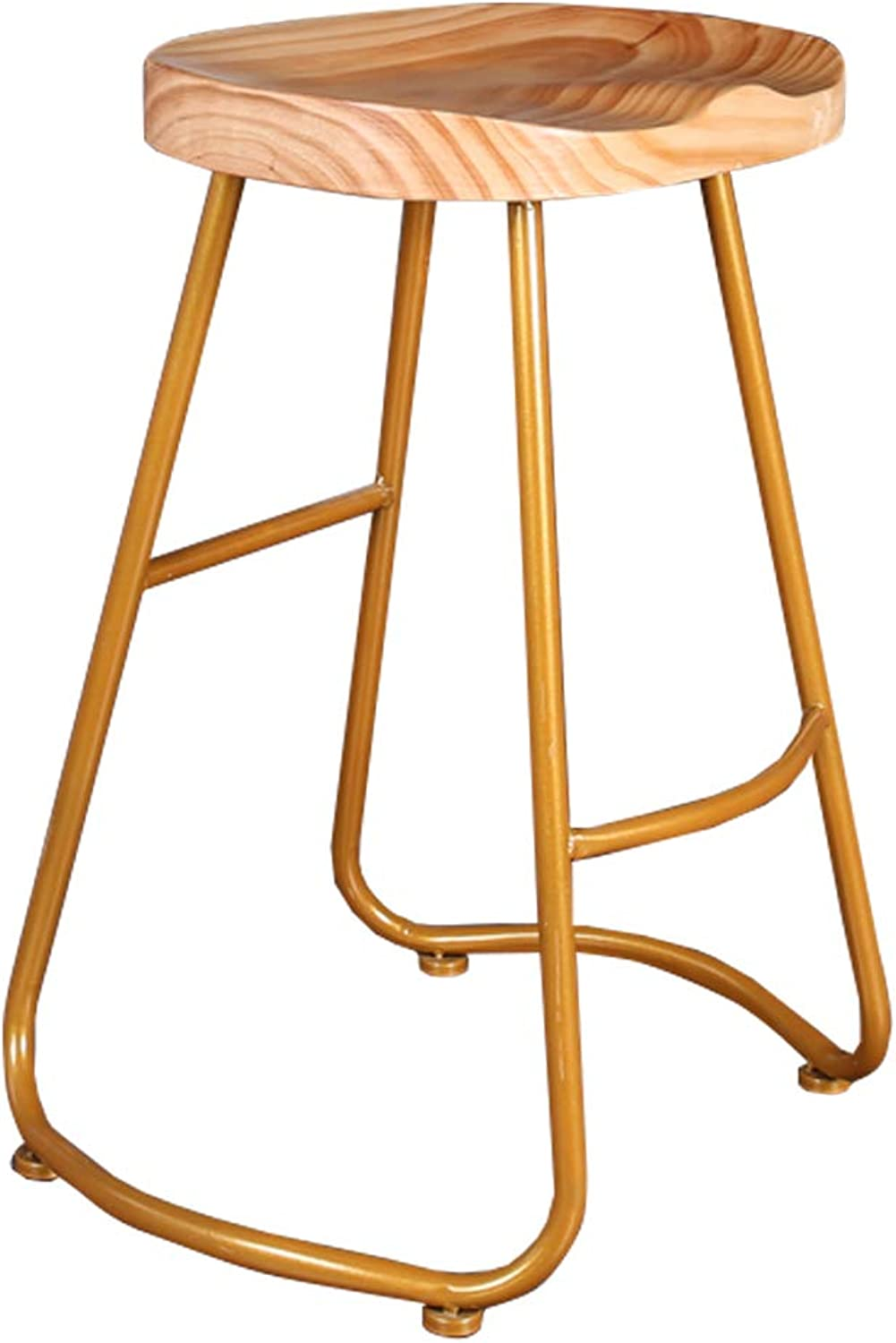 17.7  25.6  29.5  Pub Counter Height Barstool with Wood Seat and Footrest - gold Metal Base - Kitchen Chair for Restaurant Bar Cafe