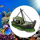 JKKJ Nave de naufragio pirata de resina, decoración de paisaje artificial de acuario, cueva de barco oculta para tanque de peces, accesorios de acuario, muebles de acuario