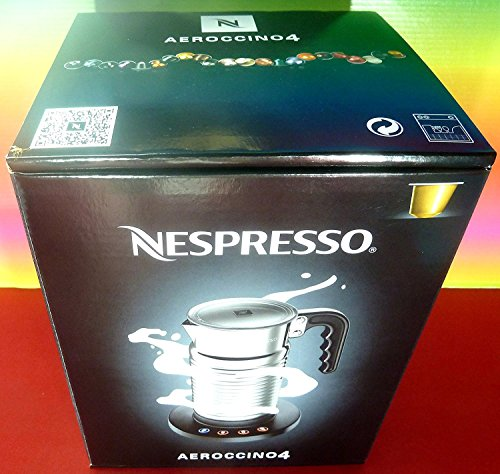 Nespresso aeroccino4 New Model 4192-gb Milk Frother, Silver, 220 – 240 V, Hot & Cold, for Cappuccino & Latte, Aeroccino, Brand New