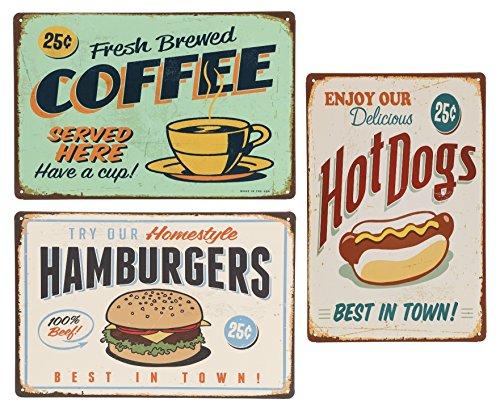 (オールドボーイ) Old-boy ブリキ看板 3枚 セット コーヒー ホットドッグ ハンバーガー レトロ アメリカン 雑貨