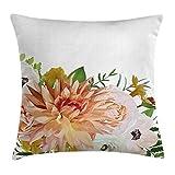 Anemone Flower Throw Pillow Cojín, Garden Rose Dahlia Forest Meadow Ropa de Cama Plantas Hojas Mix, Funda de Almohada Decorativa Cuadrada Acnt, 45cm X45cm, Fern Green