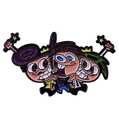 Das Fairly OddParents Abzeichen Es ist Timmy Turner Cosmo und Wanda, in Einer Gruppenumarmung, als Sammelstift.