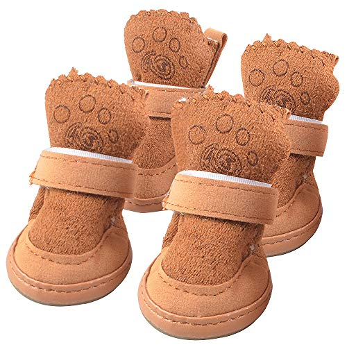 LLNstore Dog Snow Boots Puppy Dog Shoes Pet Warm Shoes Anti-Slip Thicken Puppy Booties for Puppy Dogs Chihuahua 4pcs Set Brown (XS)