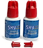 2 Bottles Long Retention Eyelash Extension Glue SKY S+ 5ml Professional Black Eyelash Extension Adhesive 1-2s Fast Drying 6-8 Weeks Lasting time for Individual Mink Lash Extensions