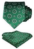 HISDERN Panuelo de lazo floral de la boda de Paisley Corbata de los hombres y conjunto de bolsillo cuadrado Verde blanco