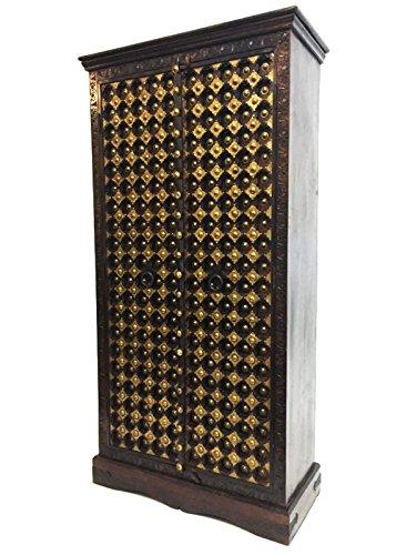 Orientalischer grosser Schrank Kleiderschrank Wafiah 180cm hoch | Marokkanischer Vintage Dielenschrank schmal | Orientalische Schränke aus Holz massiv für den Flur, Schlafzimmer, Wohnzimmer oder Bad